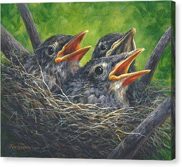Canvas Print featuring the painting Baby Robins by Kim Lockman