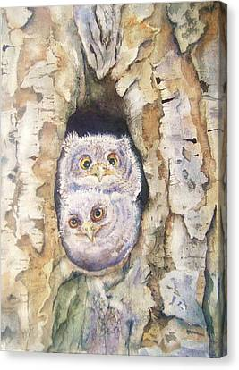 Baby Screech Owls Canvas Print by Patricia Pushaw