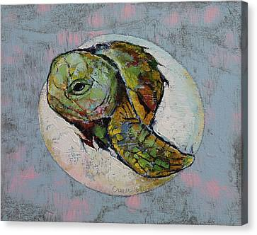 Baby Sea Turtle Canvas Print by Michael Creese