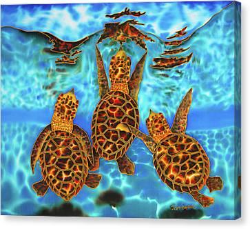 Baby Sea Turtles Canvas Print by Daniel Jean-Baptiste