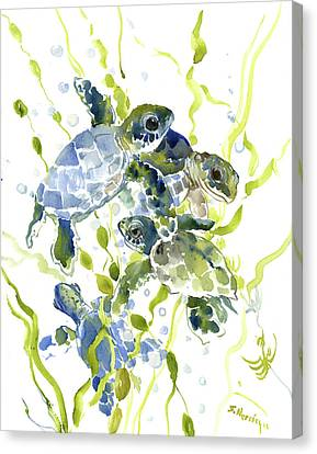 Baby Sea Turtles In The Sea Canvas Print