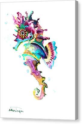Baby Seahorse Canvas Print by Suren Nersisyan