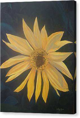 Canvas Print featuring the painting Baby Sunflower by Betty-Anne McDonald