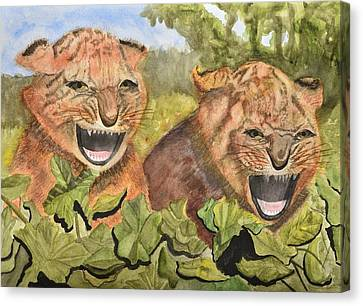 Growling Canvas Print - Baby Tiger Cubs by Linda Brody