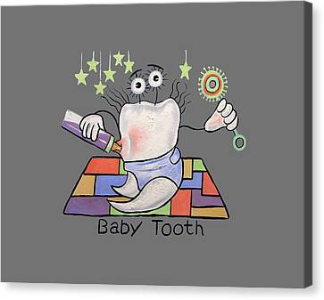 Baby Tooth T-shirt Canvas Print by Anthony Falbo