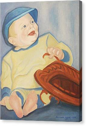 Baby With Baseball Glove Canvas Print by Suzanne  Marie Leclair