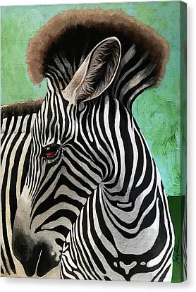 Canvas Print featuring the painting Baby Zebra by Linda Apple