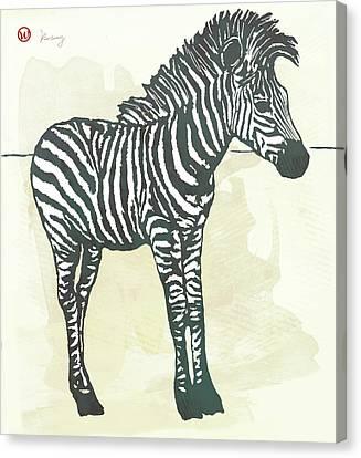Baby Zebra - Stylised Pop Art Poster Canvas Print