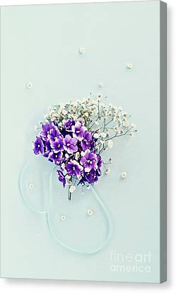 Canvas Print featuring the photograph Baby's Breath And Violets Bouquet by Stephanie Frey