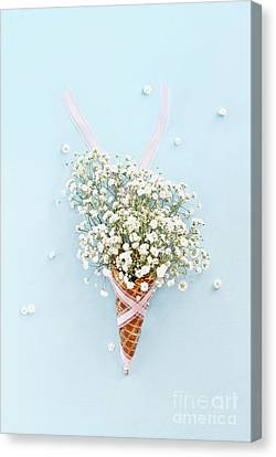 Canvas Print featuring the photograph Baby's Breath Ice Cream Cone by Stephanie Frey