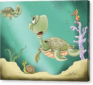 Baby's Morning Swim Canvas Print by Hank Nunes