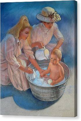 Baby's Summer Bath Canvas Print by Sue Halstenberg
