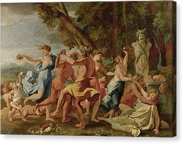 Bacchanal Before A Herm Canvas Print by Nicolas Poussin