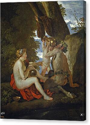 Bacchic Scene Or Nymph And Satyr Drinking  Canvas Print by Nicolas Poussin