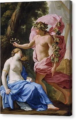 Bacchus And Ariadne Canvas Print by Eustache Le Sueur