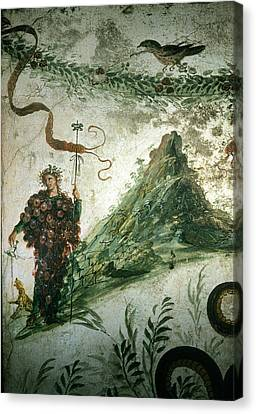 Bacchus, Roman God Of Wine, Stands Canvas Print by O. Louis Mazzatenta