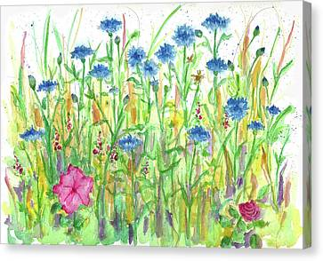 Canvas Print featuring the painting Bachelor Button Meadow by Cathie Richardson