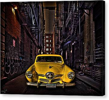 Fire Escape Canvas Print - Back Alley Taxi Cab by Chris Lord
