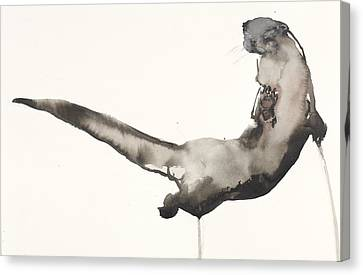 Back Awash   Otter Canvas Print by Mark Adlington