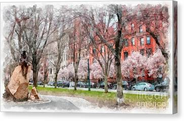 Back Bay Boston Watercolor Canvas Print