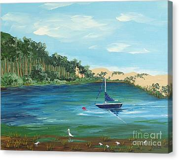 Canvas Print featuring the painting Back Bay From Back Bay Inn Los Osos Ca by Katherine Young-Beck