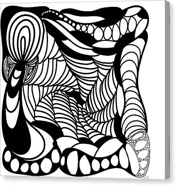 Abstract Digital Canvas Print -  Back In Black And White 14 Modern Art By Omashte by Omaste Witkowski