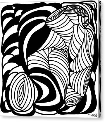Abstract Digital Canvas Print -  Back In Black And White 15 Modern Art By Omashte by Omaste Witkowski