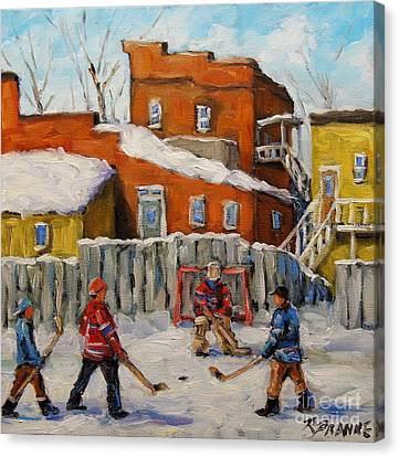 Back Lane Hockey Created By Prankearts Canvas Print by Richard T Pranke
