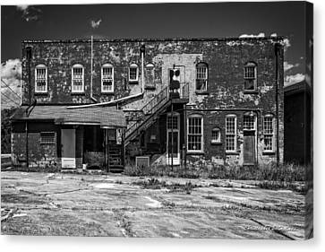 Canvas Print featuring the photograph Back Lot - Bw by Christopher Holmes