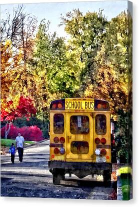 School Bus Canvas Print - Back Of School Bus by Susan Savad
