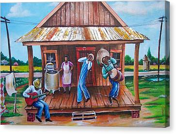 Back Porch Jamming Canvas Print by Arthur Covington