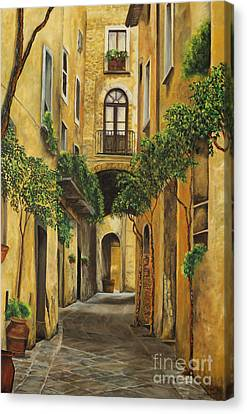 Back Street In Italy Canvas Print by Charlotte Blanchard