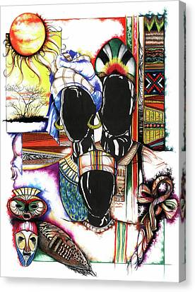 Canvas Print featuring the drawing Back To Basic by Anthony Burks Sr
