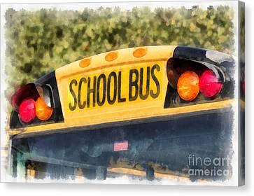 School Bus Canvas Print - Back To School Bus Watercolor by Edward Fielding
