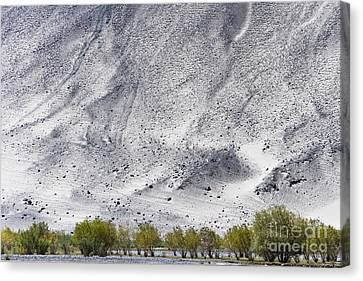 Canvas Print featuring the photograph Backdrop Of Sand, Chumathang, 2006 by Hitendra SINKAR