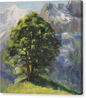 Swiss Canvas Print - Backdrop Of Grandeur Plein Air Study by Anna Rose Bain