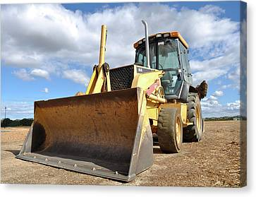 Backhoe Tractor Construction Canvas Print by Brandon Bourdages