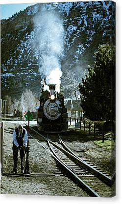 Backing Into The Station Canvas Print by Jason Coward