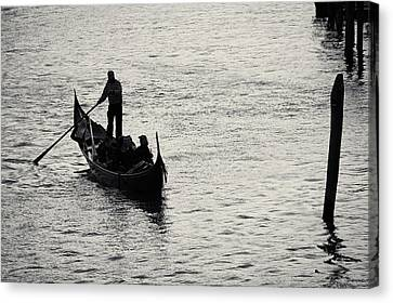 Canvas Print featuring the photograph Backlit Gondola, Venice, Italy by Richard Goodrich