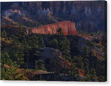 Canvas Print featuring the photograph Backlit Hoodoos At Sunrise by Stephen  Vecchiotti