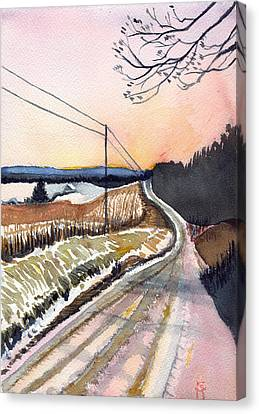 Canvas Print featuring the painting Backlit Roads by Katherine Miller