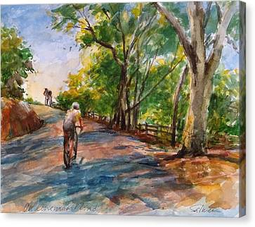 Backwoods Pedaling Canvas Print by Peter Salwen