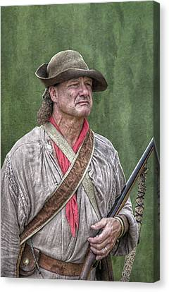 French And Indian War Canvas Print - Backwoodsman Hunter Portrait  by Randy Steele