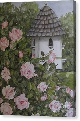 Backyard Birdhouse Canvas Print by Karen Olson