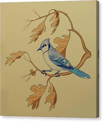 Bluejay Canvas Print - Backyard Jay by Lonnie Tapia