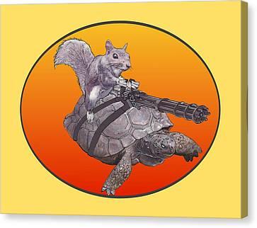 Canvas Print featuring the digital art Backyard Modern Warfare Crazy Squirrel by David Mckinney