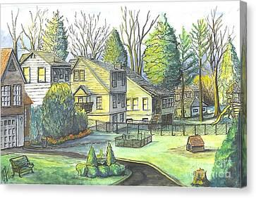 Hometown Backyard View Canvas Print by Carol Wisniewski