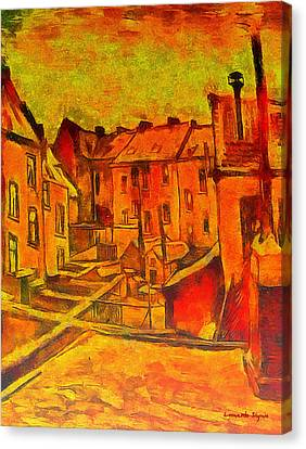 Decoration Canvas Print - Backyards Of Old Houses In Antwerp In The Snow Revisited - Da by Leonardo Digenio