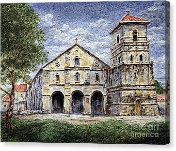 Canvas Print featuring the painting Baclayon Church by Joey Agbayani