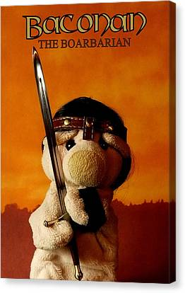 Baconan The Boarbarian Canvas Print by Piggy